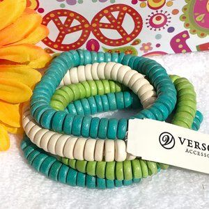 Boho Wood Bead Tribal Ethnic Stretch Bracelet Set